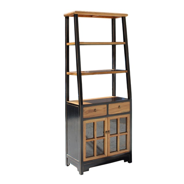 Oriental Black Brown Glass Door China Bookcase Cabinet For Sale - Image 4 of 7