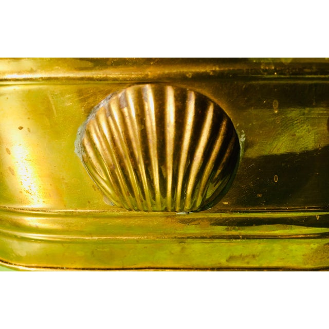 1960s Hollywood Regency Brass Oblong Planter With Shell Detail and Handles For Sale In Portland, OR - Image 6 of 10