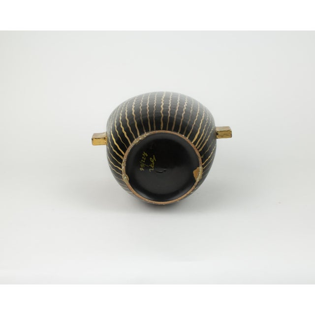 Mid Century Italian Striped Black and Gold Vase For Sale - Image 10 of 13