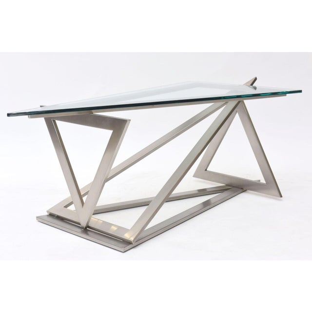 1970s Italian Modern Stainless Steel and Glass Table Attributed to Giovanni Offredi For Sale - Image 5 of 10