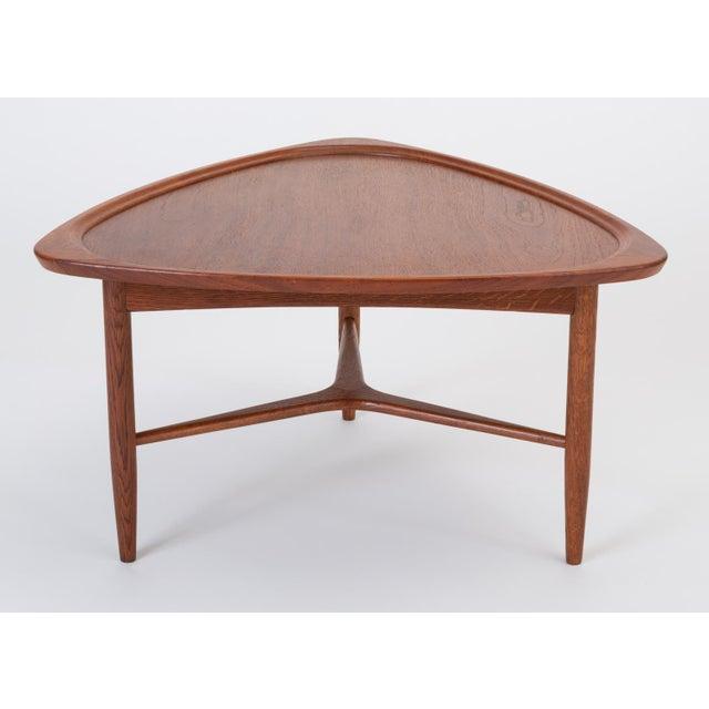 "Danish Modern Scandinavian Modern Teak ""Guitar Pick"" Side Table For Sale - Image 3 of 13"