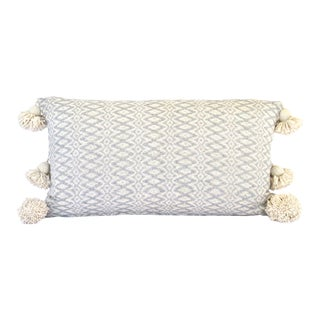 Boho Chic Ivory and Grey Woven Blanket For Sale