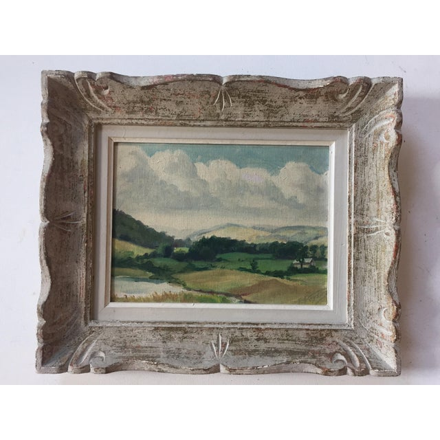 Great mid-century oil on canvas board. Signed lower right ?? NY Label on back framed in a carved French frame 9 x 12...