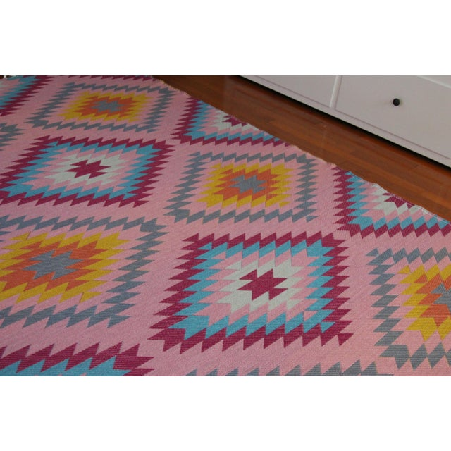 "Reversible Flat Weave Diamond Wool Kilim Rug - 5'3"" x 7'6"" - Image 7 of 8"