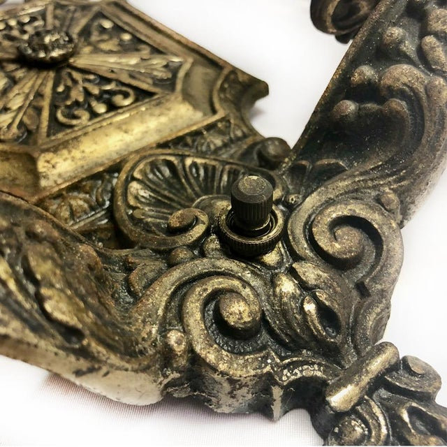 1930s 1930s Antique Gothic Victorian Cast Iron Wall Sconce Light For Sale - Image 5 of 8