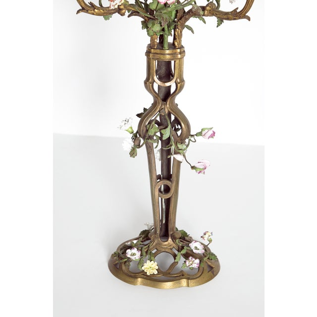 Late 19th Century Pair of French Belle Epoque Gilt Bronze Porcelain Candelabra For Sale - Image 4 of 13