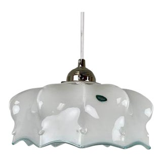 Italian Milk Glass Single Light Pendant For Sale