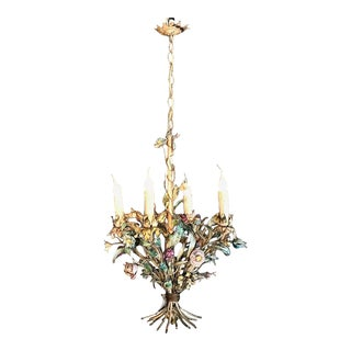 Antique Italian Painted Mid-Century Iron Chandelier For Sale