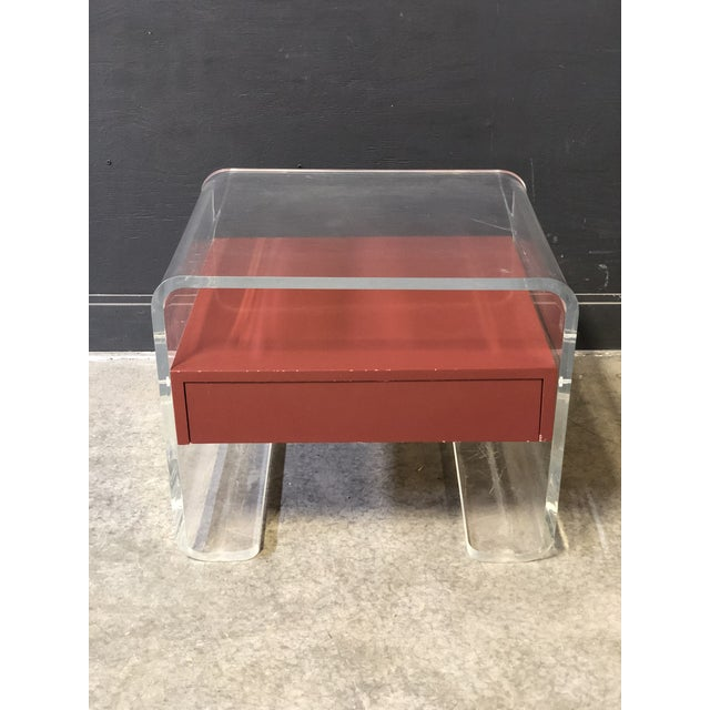 Lucite Side Table With Drawer For Sale - Image 4 of 4