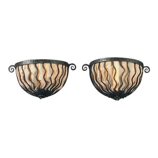 1930s Vintage French Wrought Iron Art Deco Wall Sconces- A Pair For Sale