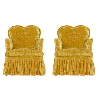 Petit Crushed Velvet Heart Shaped Hollywood Regency Chartreuse Chairs For Sale
