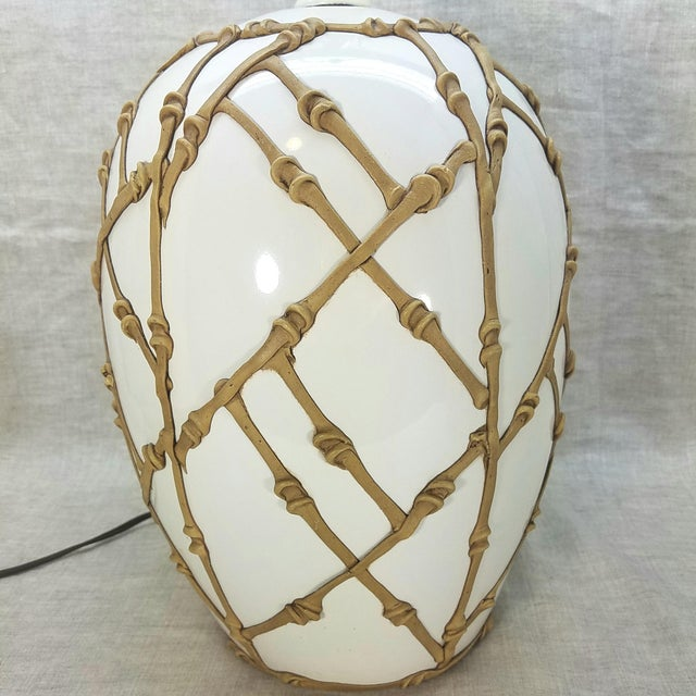 Asian Vintage 80's Palm Beach Table Lamp For Sale - Image 3 of 10
