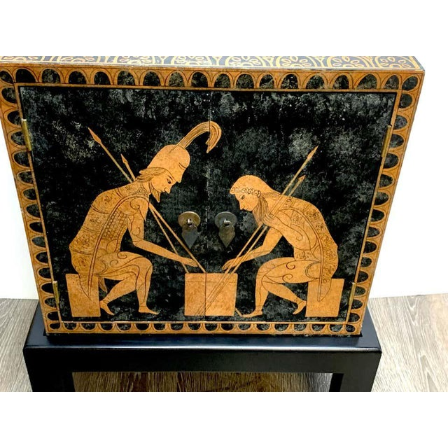 Mid 20th Century Grand Tour Style Polychromed Greek Motif Cabinet on Stand For Sale - Image 5 of 13