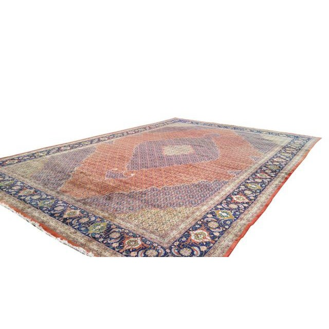Traditional Traditional Hand Made Knotted Tabriz Mahi Design Rug - 12′9″ × 19′7″ - Size Cat. 12x18 13x20 For Sale - Image 3 of 4