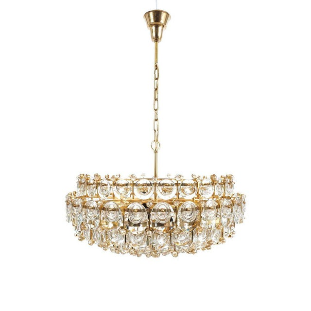 Gold Exceptional Large Gilt Brass and Glass Chandelier Lamp, Palwa circa 1960 For Sale - Image 8 of 11