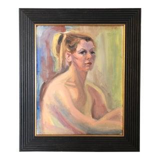 Vintage Original Female Nude Portrait Painting 1970's For Sale