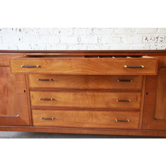 Brown Renzo Rutili for Johnson Furniture Co. Mid-Century Modern Sideboard Credenza with Hutch Top For Sale - Image 8 of 11