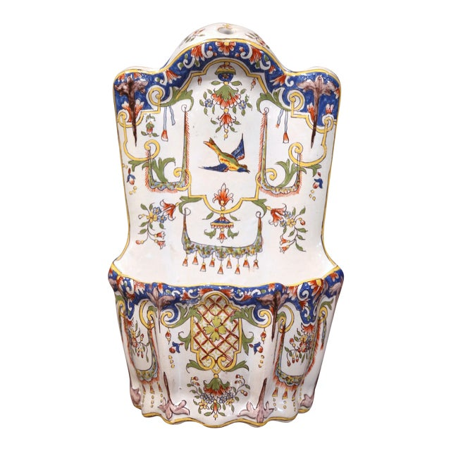 19th Century French Hand Painted Wall Hanging Flower Holder from Rouen For Sale