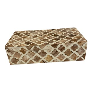 Brown and Ivory Arabesque Inlay Bone Box For Sale