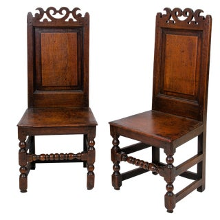 17th Century English Traditional Oak Wainscot Chairs - a Pair For Sale