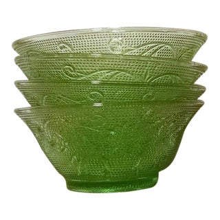 Vintage Indiana Glass Chantilly Green Glass Dessert Bowls - Set of 4