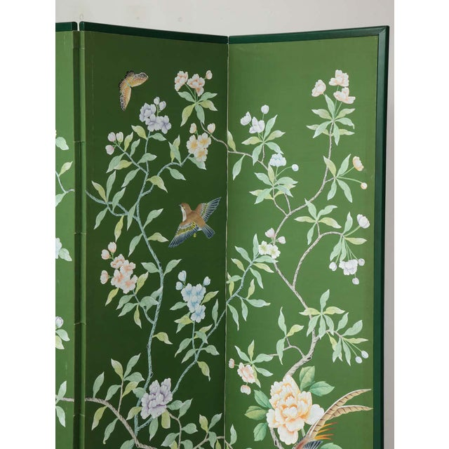 Chinoiserie Green Chinoiserie Six-Panel Hand-Decorated Screen For Sale - Image 3 of 11