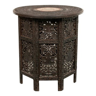 Early 20th Century Indian Bone Inlaid Octagonal Occasional Table For Sale