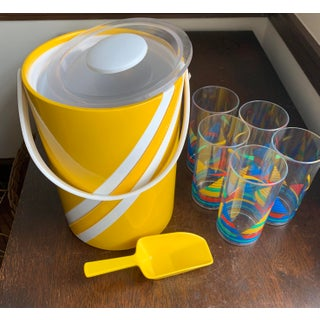 1960s Vintage Georges Briard Vinyl Nautical Themed Ice Bucket & Glasses- 6 Pieces Preview