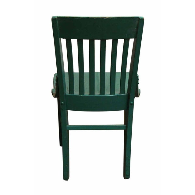 Traditional Green Wood Office Chair For Sale - Image 3 of 5