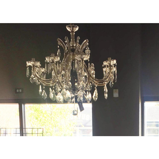 1940s 1940s Large Italian Maria Theresa Style Nine-Arm Crystal Chandelier Re-Wired For Sale - Image 5 of 6