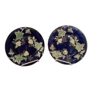 Late 19th Century Blackberry Vine Majolica Plates - a Pair For Sale