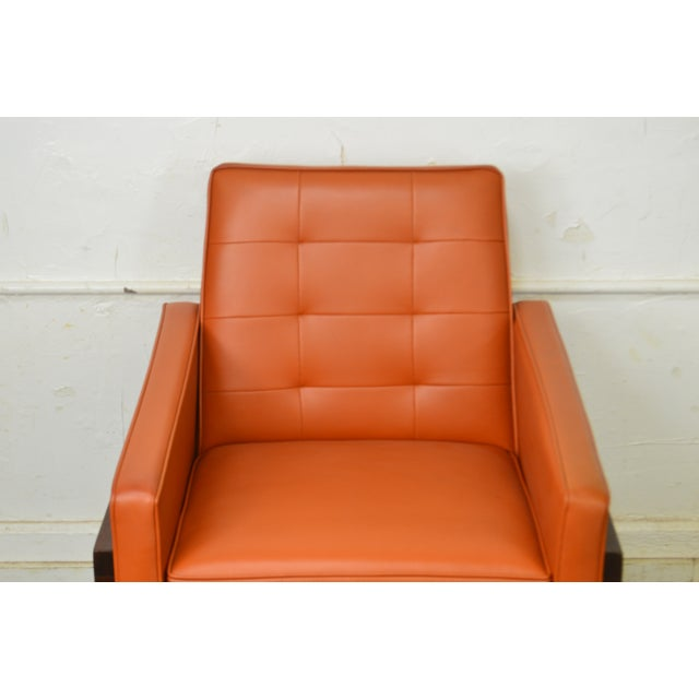 1960s Mid Century Modern Pair of Walnut Frame Orange & Blue Lounge Chairs For Sale - Image 5 of 13