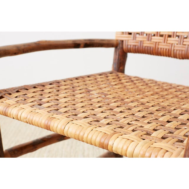 Set of Six Old Hickory Twig Hoop Adirondack Armchairs For Sale - Image 9 of 13