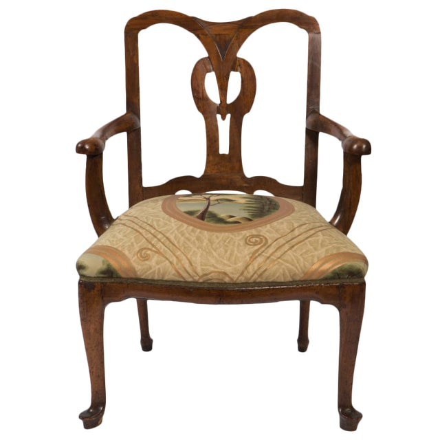 18th Century Vintage Walnut Italian Open Back Armchair For Sale