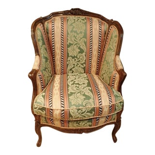 19th Century Antique Bergère Fauteuil Upholstered Wingback Chair For Sale