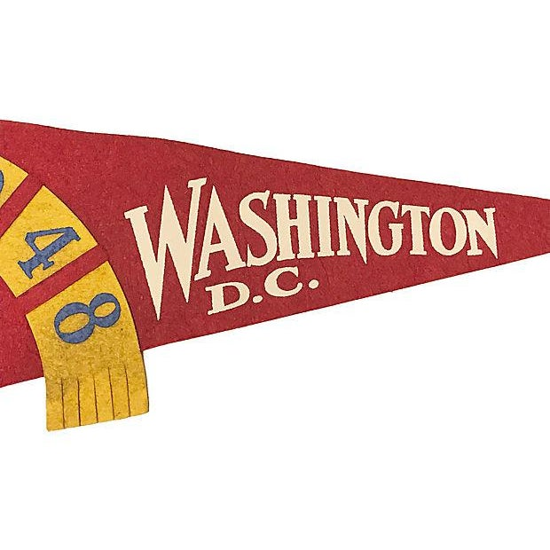 American Red and Yellow Washington DC Felt Pennant For Sale - Image 3 of 4