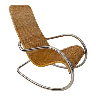 Mid 20th Century Italian Rattan and Chrome Rocking Chair For Sale