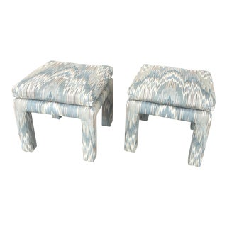Vintage Parsons Stools Upholstered In Designer Flame Stick Fabric - A Pair