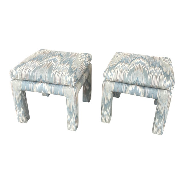 Vintage Parsons Stools Upholstered in Designer Flame Stitch Fabric - a Pair - Image 1 of 8