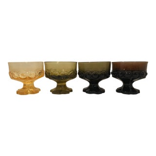 Tiffan Franciscan Madeira Yellow, Green, Brown Glass Dessert Cups - Set of 4 For Sale