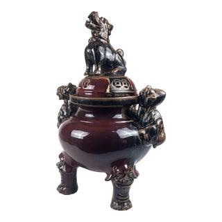 Large Chinese Porcelain Foo Dog Lion Incense Burner For Sale