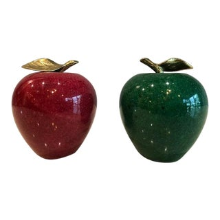 1980s Vintage Italian Apple Paper Weights- A Pair For Sale