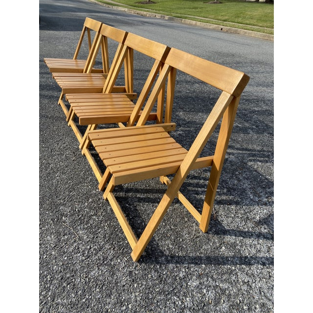 Modern Vintage Maple Folding Chairs - Set of 4 For Sale - Image 3 of 11