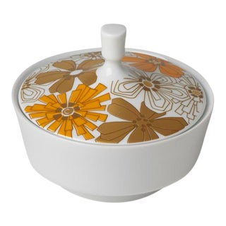 Mid Century Vintage Op Art Floral Covered Dish For Sale