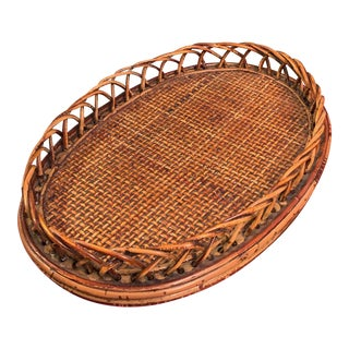 Vintage Rattan and Reed Tray For Sale