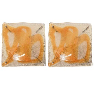 Italian Amber Infused Murano Square Sconces / Flush Mounts by Mazzega - a Pair For Sale