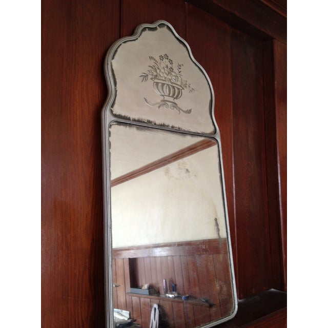Large Vintage Etched Wall Mirror - Image 6 of 11