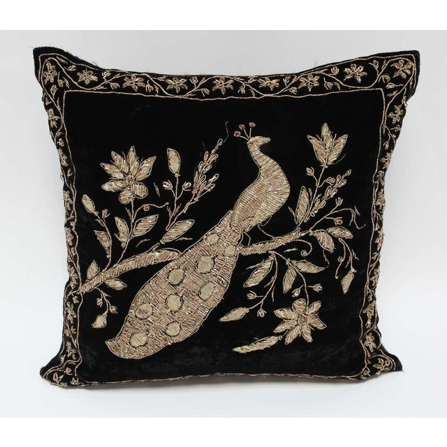 Black Velvet Throw Pillow Embroidered with Metallic Moorish Gold Threads For Sale - Image 4 of 11