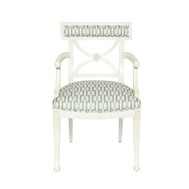 White Schumacher Westminster Belvedere Peacock Blue Hand-Carved Beechwood Armchair For Sale - Image 8 of 9