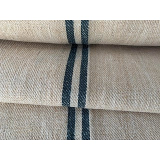 French Heavy Hemp Grain Sack Fabric with Dark Green Stripe - 8 Yards For Sale